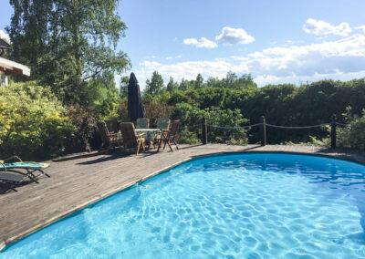 The pool in the greenery.