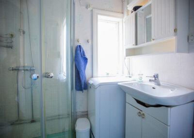 Badrummet i stora stugan har toalett, dusch med duschväggar, tvättställ, skåp och tvättmaskin.