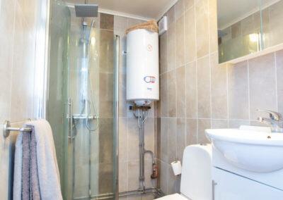 Kaklat badrum med dusch i lilla stugan