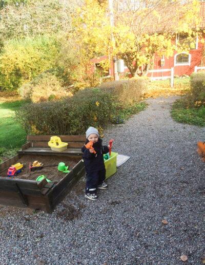 The sandbox in our family friendly garden.