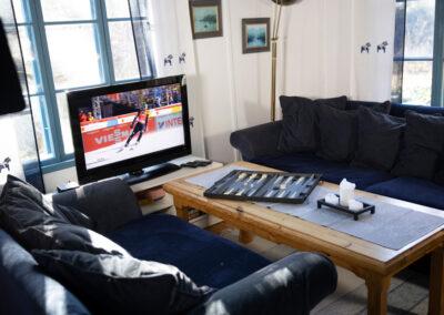 Stora stugan har rymliga soffor, tv och ett stort soffbord